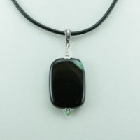 Green and Black Agate Pendant Necklace for Photo Engraving